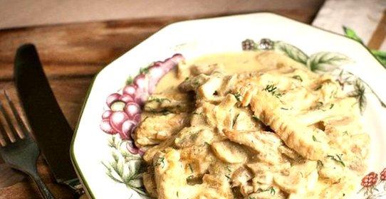 Индейка с грибами в сливочном соусе рецепт в духовке