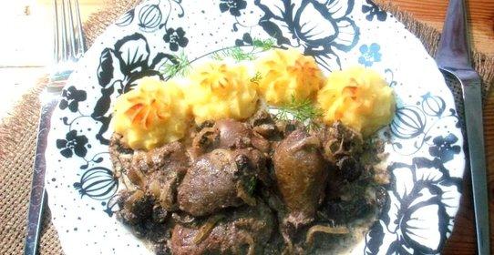 Куриная печень с шампиньонами рецепты с фото